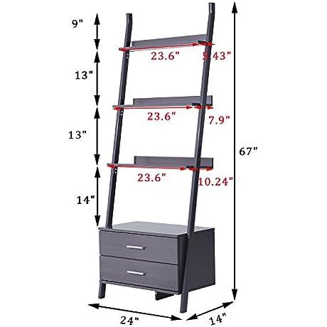 Generic O 8 O 4630 O E Shelv Book Magazine K Magaz Wooden Wall En Wall Ladder Bookshelf Bookcase Leaning Shelves Brown Ookcase 4Tier Leaning NV 1008004630 TYQFUS32
