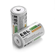 EBL 10000mAh D Rechargeable Batteries 2 Pack Ni-Mh D Size D Cell 1200 Cycle (Battery Case Included)