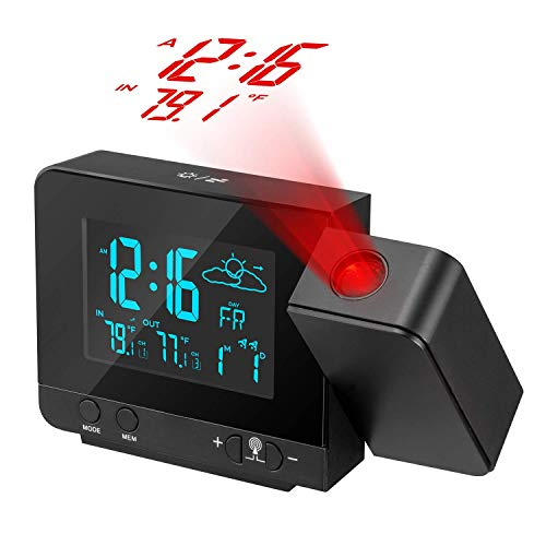 Dr. Prepare Projection Alarm Clock, Digital Clock Projector with Indoor/Outdoor Thermometer Hygrometer, Weather Station, Dual Alarm, USB Charging, Snooze Function and Colorful Backlight for Bedroom