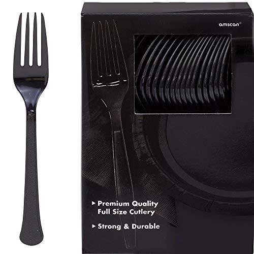 (Amscan 43600.10 Big Party Pack Premium Plastic Forks, 10.6 x 10.4, Black)