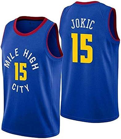 15 Jokic Nuggets Jersey de Baloncesto para Hombre Nueva Tela ...