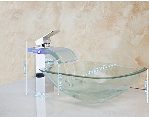 GOWE Square Bathroom Art Washbasin Tempered Glass Vessel Sink With Waterfall Glass Brass LED Faucet Set by Gowe
