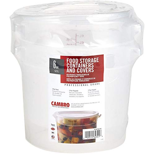 (Cambro RFS6PPSW2190 6-Quart Round Food-Storage Container with Lid, Set of 2)