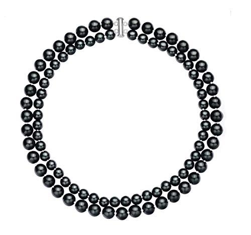 Rakumi Double-Row 8-10mm Black Seashell Pearl Necklace 18