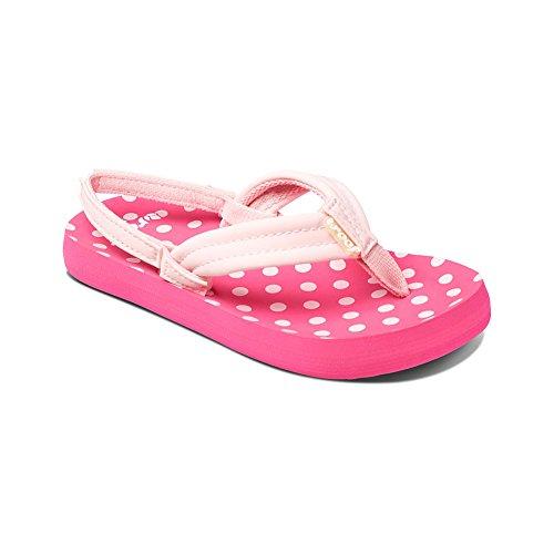 Reef Little Ahi Kids Sandal (Toddler/Little Kid/Big Kid), Pink Polka Dot, 04R (4/5 M US Big Kid M US Big Kid) (Polka Pink Sandals Dot)
