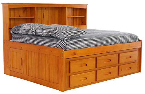 Bedroom Hutch Pine (Discovery World Furniture Bookcase Daybed with 6 Drawers, Full, Honey)