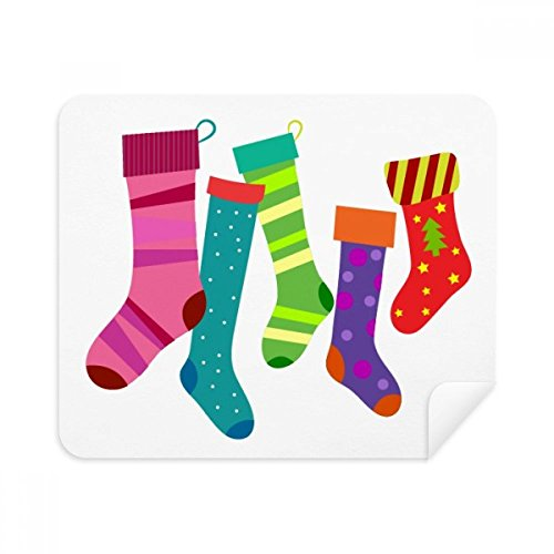 Merry Christmas Colorful Stockings Illustration Phone Screen Cleaner Glasses Cleaning Cloth 2pcs Suede Fabric