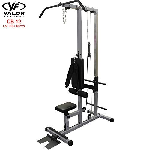 (Valor Fitness CB-12 Plate Loaded LAT Pull Down Machine with Lower T-Bar and Ab Crunch Harness)
