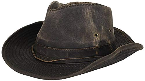 Dorfman-Pacific Weathered Outback Hat With Chin Cord (XXX-Large, Brown) - Outback Cap Hat