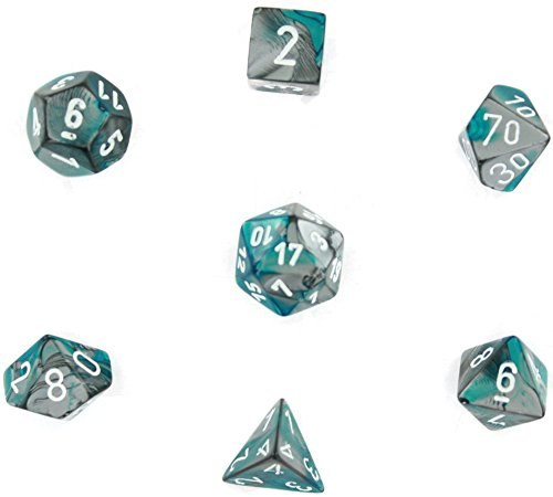 (Chessex Polyhedral 7-Die Gemini Dice Set - Steel-Teal with White CHX-26456)