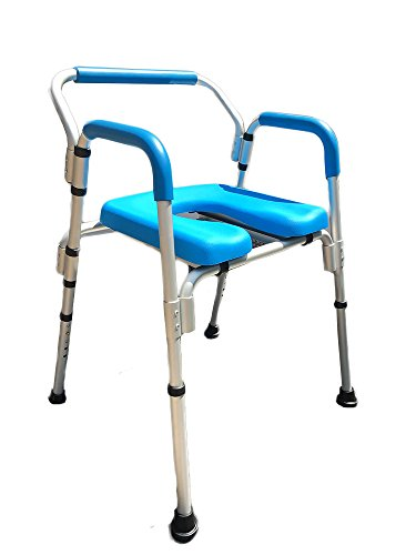 Commode Chair/Shower Chair, Versatile(tm) 3-in-1 PADDED Commode/Shower Chair. Institutional Quality, Padded Armrests and Back, Adjustable Height. ()