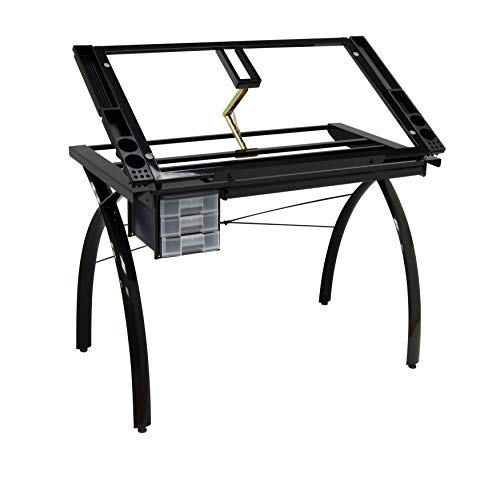 Studio Designs Futura Modern Metal and Glass Hobby, Craft, Drawing, Drafting Table, Desk with 38''W x 24''D Angle Adjustable Top in Black / Clear Glass