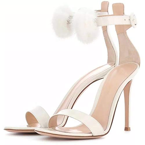 WAZMM Women Shoes Stiletto Women's Shoes Sandals Large Size White Hair Ball Word Belt Artificial PU Ankle Strap Buckle Buckle Solid Color Increase Banquet Wedding, Daily Leisure
