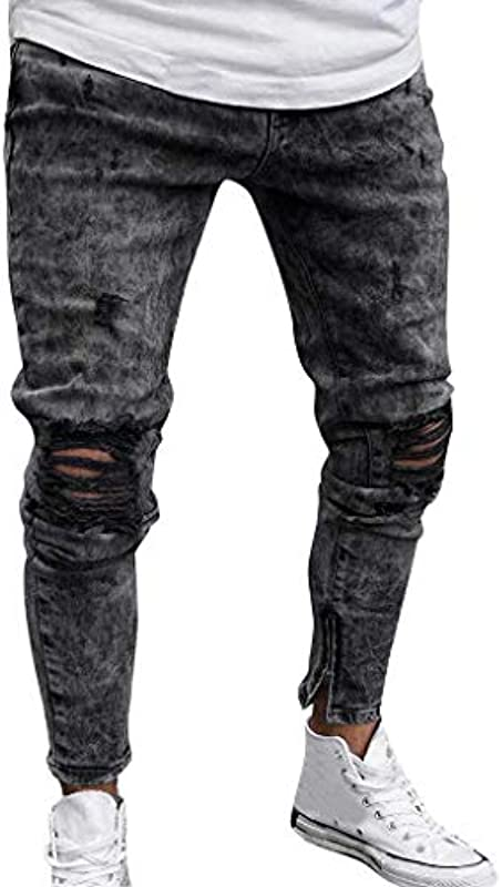 HX Fashion spodnie męskie dżinsy Destroyed czarne Fit Slim Piątk spodnie wygodne rozmiary męskie dżinsy Destroyed letnie spodnie męskie Jogger Jeans z dziurkami czarny stretch męskie Slim Bi