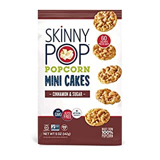 SkinnyPop Popcorn Mini Cakes, Cinnamon & Sugar, Healthy Snacks, 5 Ounce (Pack of 12)