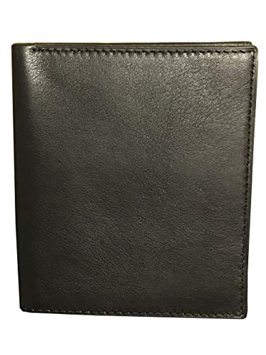 E Elton Men's Genuine Lambskin Soft Leather Hipster Bifold Wallet Black ()