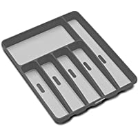 madesmart Classic Large Silverware Tray - Cool Grey   CLASSIC COLLECTION   6-Compartments   Soft-Grip Lining and Non…