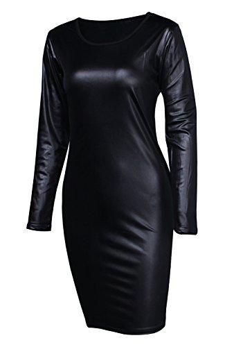Sarin Mathews Women Faux Leather Bodycon Pencil Party Midi Clubwear Dress XX-Large
