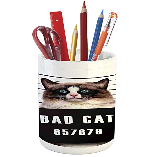 (Pencil Pen Holder,Cat Lover Decor,Printed Ceramic Pencil Pen Holder for Desk Office Accessory,Bad Gang Cat in Jail Kitty Under Arrest Criminal Prisoner Hangover Artsy Work)