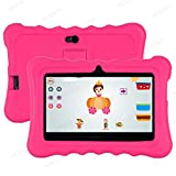 Xgody T702 7 Inch Android Kids Tablet 1GB 16GB Storage Quad Core Android 8.1 with WiFi Dual Camera IPS Safety Eye Protection Screen and Parents Control Mode Kid-Proof Case (Rose)