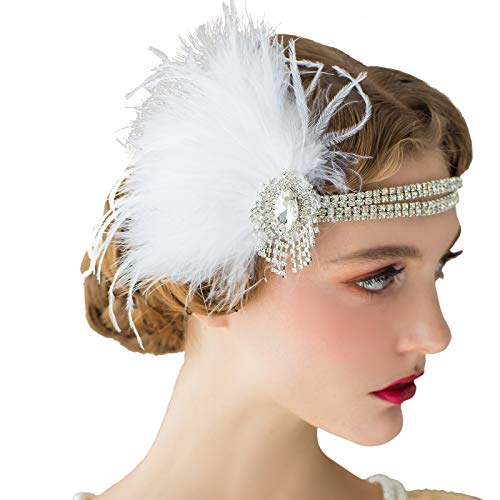 SWEETV Ivory Flapper Headbands, Great Gatsby Headpiece, 1920s Accessories for Women, Peacock Feather Headband for Bride