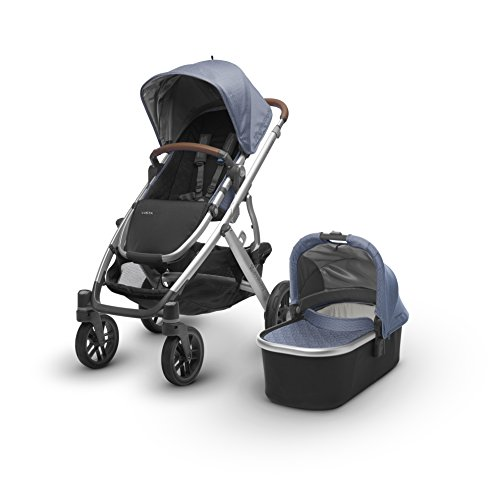 UPPAbaby VISTA Stroller, Blue Marl/Silver/Leather, Henry by UPPAbaby