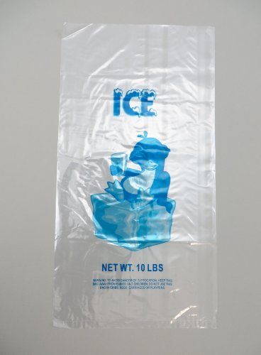1000 bags/case! - Plastic Bag-Clear Printed LDPE 10LB Ice bags 11.5