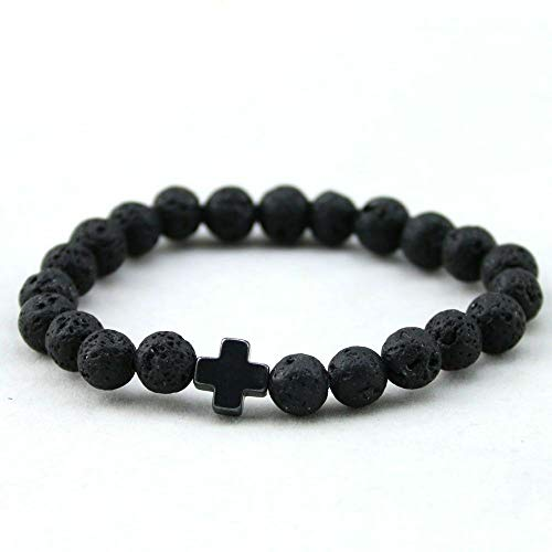 New Hematite Cross Beaded Bracelets Mens Lava Stone Beads Party Jewelry Gift