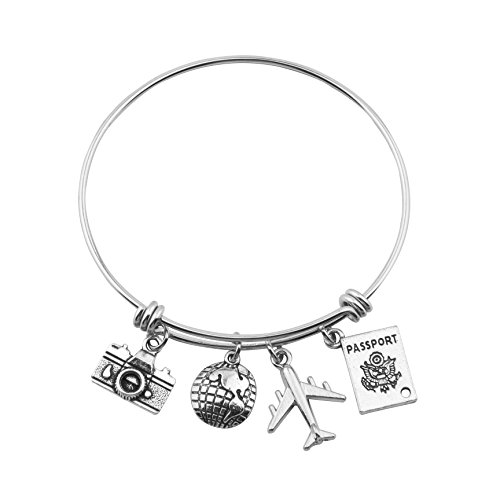 SEIRAA Travel Bracelet Expandable Wire Bracelet Bangle Charm Bracelets Gift for Traveler (Travel Bangle)