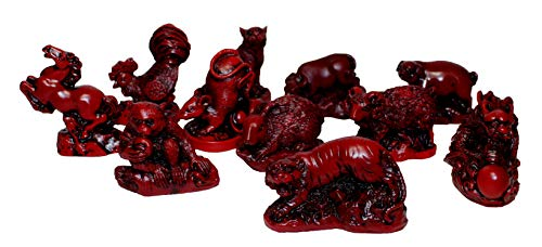 - Set of 12 Mini Red Resin Eastern Zodiac Animals