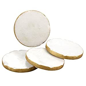 Thirstystone Round White Marble/Gold Edged Coasters (Set of 4), Multicolor