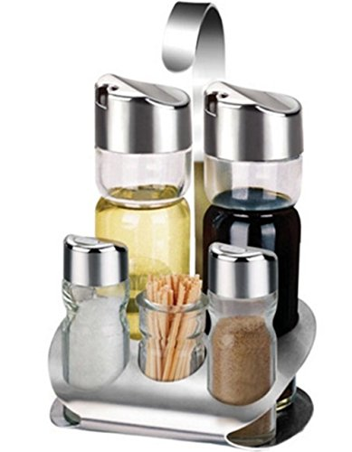 (LFHT Glass Cruet Set with Stand Oil Vinegar Dispenser Salt and Pepper Shaker Bottles Serving Set 5 Pcs)