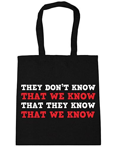 HippoWarehouse no se sabe que sabemos Tote Compras Bolsa de playa 42cm x38cm, 10litros negro