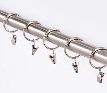 10 Stück Gardinenringe mit Klammern in 3 Farben-für Stangen von 25 mm, Antik-Gold MDEKOR