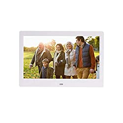 Linbing123 10 inch LCD High Resolution Slim Multifunctional Desktop Digital Photo Frame with MP3 MP4 E-Book Calendar Function with Remote,White