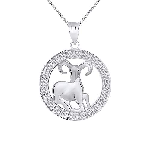 - CaliRoseJewelry Sterling Silver Aries Zodiac Pendant Necklace, 22