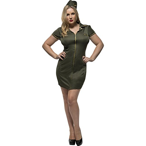 Smiffy's Women's Fever Army Costume, Dress and Hat, Fever Curves, Plus Size 18-20, 41002