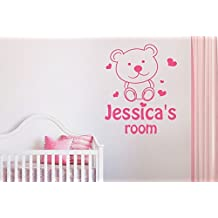 Personalised Cute Teddy Bear Kids Room Sign Wall Stickers Art Decals
