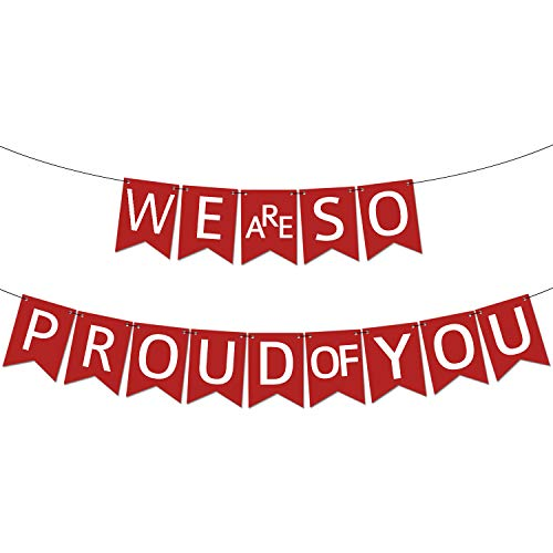 We are so Proud of You Graduation Banner - Assembled - Graduation Party Supplies 2019, Graduation Decorations, Red and White Banner for College Grad Nursing, Nurse Party Dcor |Congratulations Sign