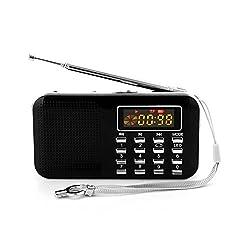 GES NET Mini Digital AM FM LCD Radio Speaker, Micro SD/TF USB Disk Speaker MP3 Music Player Stereo, Portable Pocket Novelty Radio Receiver, Handheld Radio (black)
