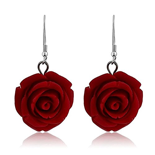 Nuwastone 20MM 925 Sterling Silver Red Simulated Coral Carved Rose Flower Earrings