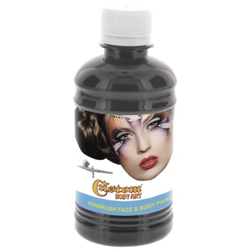 Custom Body Art 8-ounce Black Water Based Airbrush Body Art & Face Paint