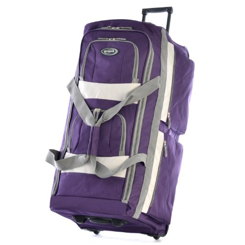 (Olympia 8 Pocket Rolling Duffel Bag, Dark Lavender)