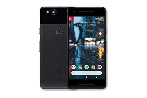 """Pixel 2 Phone (2017) by Google, G011A 64GB 5"""" inch Factory Unlocked Android 4G/LTE Smartphone (Just Black) - International Version (Certified Refurbished)"""
