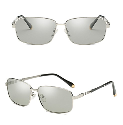 Eyewear Sunglasses Use SquareAnti Travel Use Grey UV Day Night Coolest Shield day discolor Avitor Polarized Sunglasses Driving A Silver Lens Discoloration Frame Men Sunglasses Eyeglasses and Sunglasses Fashion 8wnqTH8Br6