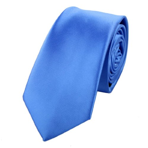 Blue Narrow Ties Silk (Blue plain narrow necktie Matching Present Box Set Dodger Blue great gifts PS1041 One Size Dodger Blue)