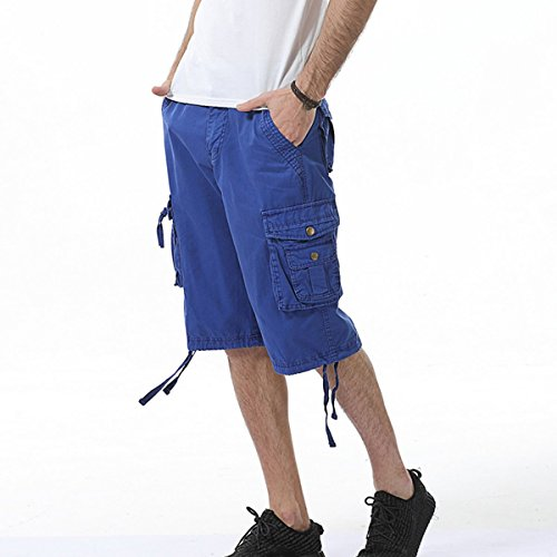 LOCALMODE Men's Casual Cotton Multi Pocket Twill Cargo Shorts Blue 36 by LOCALMODE (Image #4)