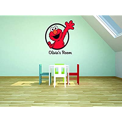 Sesame Street Elmo Personalized Custom Family Name Wall Decals Wall Design Stickers Vinyl Removable Children Kids Rooms Girls Boys Baby Nursery Cartoon Size 15x15 inch: Baby