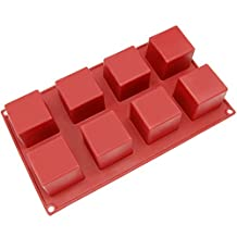 Freshware SL-133RD 8-Cavity Square Silicone Mold for Soap, Bread, Loaf, Muffin, Brownie, Cornbread, Cheesecake, Pudding, and More