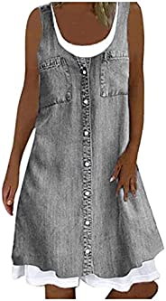 Denim Jean Dresses for Womens Loose fit midi Swing Casual Summer Dresses Sleeveless Sun Dresses Fake Two-Piece